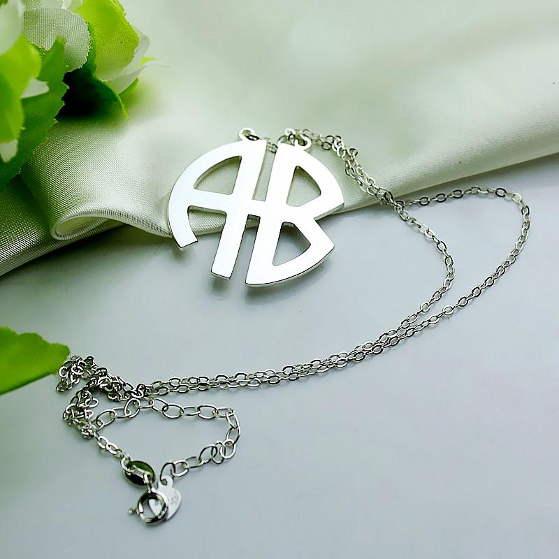 Personailzed silver two initial block monogram necklace personailzed silver two initial block monogram pendant aloadofball Choice Image