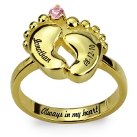 Engraved Baby Feet Ring with Birthstone Gold Plated Silver