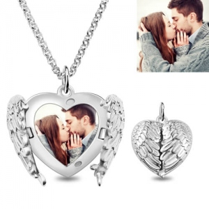 Personalized Angel Wings Heart Photo Locket