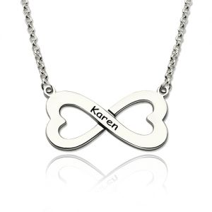 Sterling Silver Infinity Heart-Shaped Name Necklace