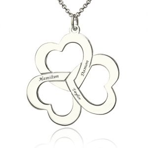 Personalized Triple Hearts Necklace in Silver