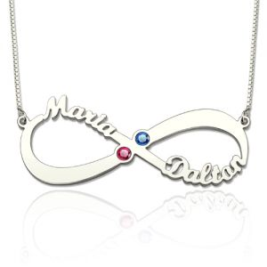 Personalized Infinity Name Birthstone Necklace Sterling Silver