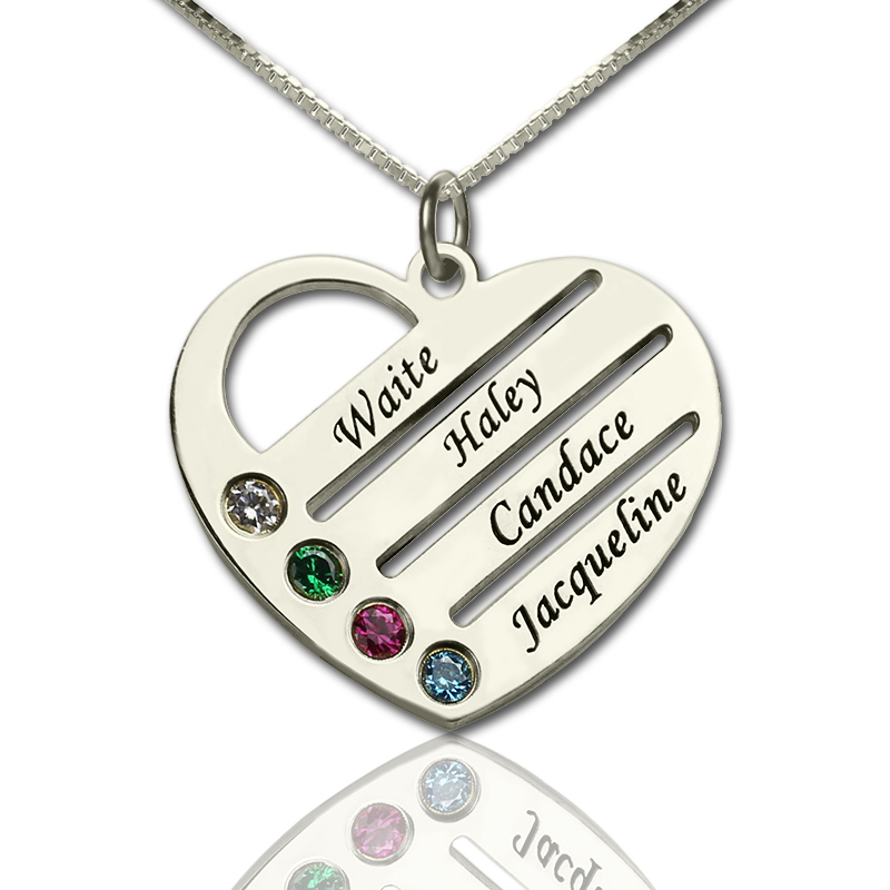 e0d188516c Personalized Mothers Heart Necklace Gift with Birthstone & Name