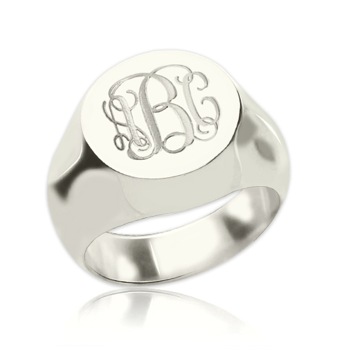 Signet Ring Sterling Silver Engraved Monogram ccfadbc3f149