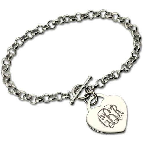 76ff8558c2a29 Valentines Gift - Monogram Charm Bracelet For Her Sterling Silver