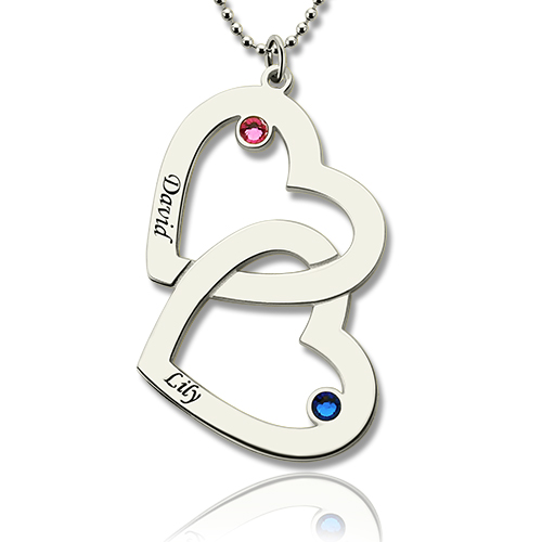 Double heart necklace with name birthstones sterling silver two hearts name necklace with birthstones sterling silver aloadofball Image collections