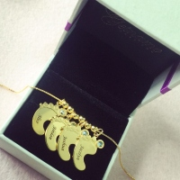 Mother Pendant Baby Feet Necklace 18k Gold Plated
