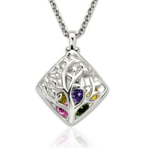 Elegant Rhombus Cage Family Tree Birthstone Necklace