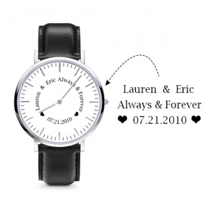 Personalized Black Leather Watch Engravable for Man/Woman