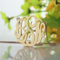 Rose Gold Large Monogram Necklace Hand-painted