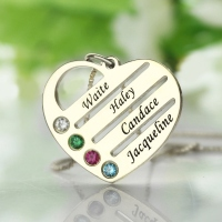 Family Name Heart Necklace with Birthstones Sterling Silver