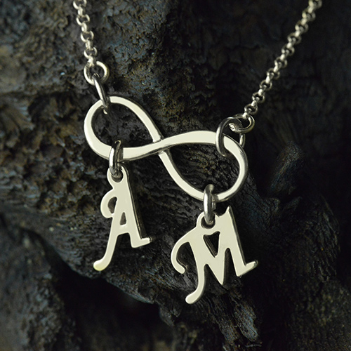 Personalized infinity necklace double initials sterling silver aloadofball Image collections