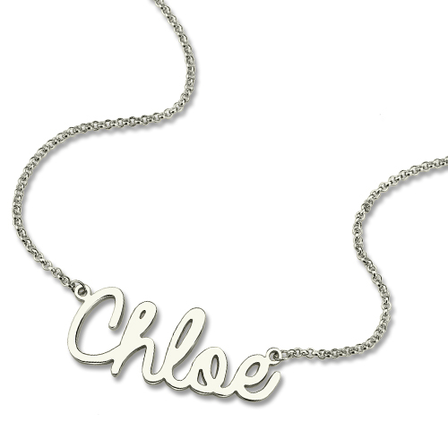 Sterling Silver Personalized Cursive Style Name Necklace For Girls