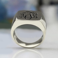 Customized Sterling Silver Monogram Signet Rings