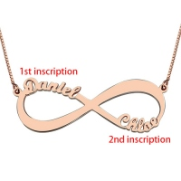 18k Rose Gold Plated Double Name Infinity Necklace