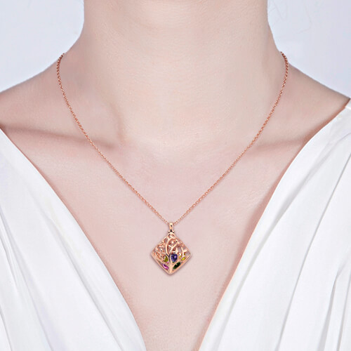 Rhombus cage family tree birthstone necklace for mothers rhombus cage family tree birthstone necklace in rose gold aloadofball Gallery