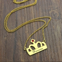 Princess Crown Charm Necklace with Birthstone & Name 18k Gold Plated