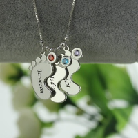Personalized Mothers Necklace Baby Feet Charm
