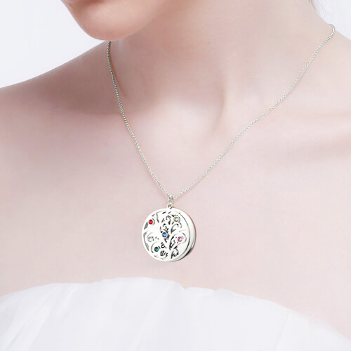 ad77d8ab1448 Family Tree Pendant Necklace With Birthstone Silver