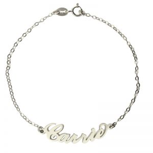 Personalized Sterling Silver Carrie Name Bracelet/Anklet