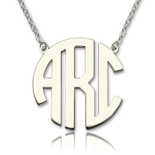 Sterling silver block monogram pendant necklace aloadofball Gallery