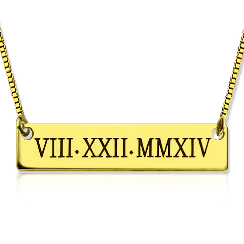 28fdd6084 Personalized Roman Numeral Bar Necklace 18K Gold Plated