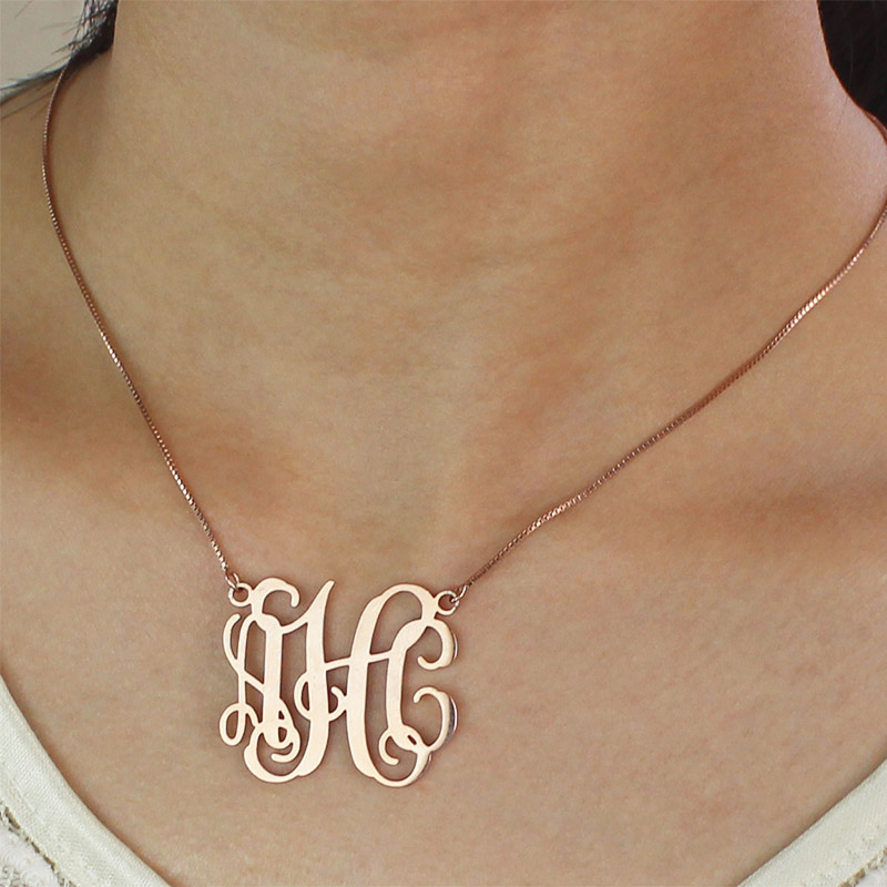 f6f38542a Personalized Rose Gold Monogram Pendant Necklace