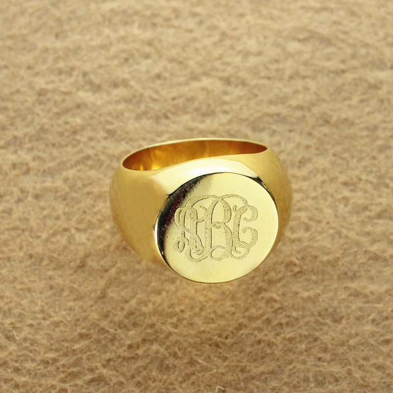 Engraved Circle Monogram Signet Ring 18k Gold Plated