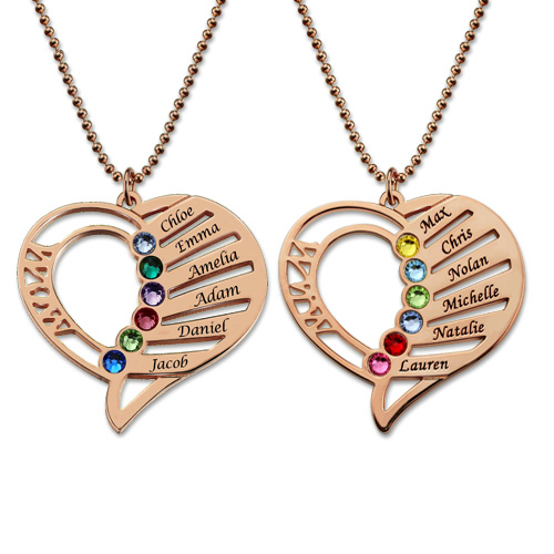 08c65394d Personalized Mom Birthstone Necklace Family Jewelry Gift for Her