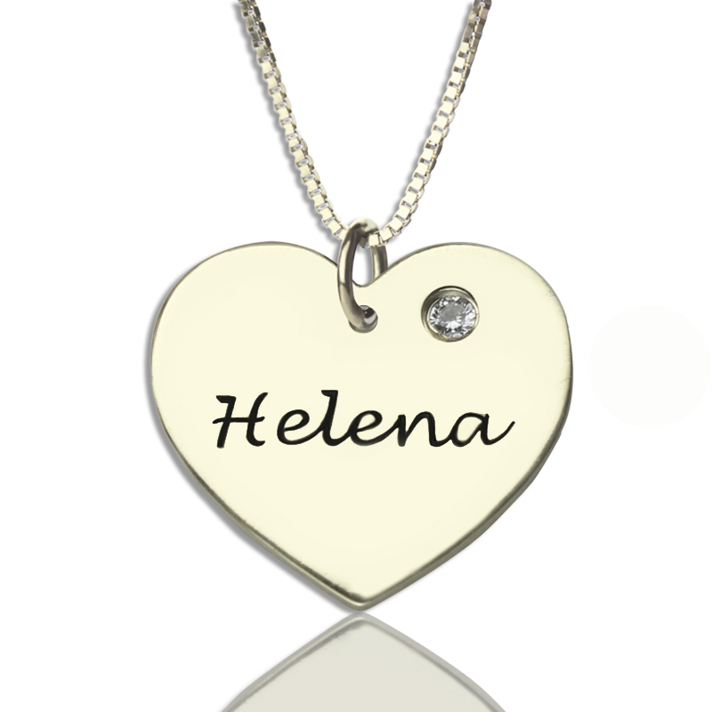 3091a69fe4 Sterling Silver Simple Heart Name Necklace with Birthstone