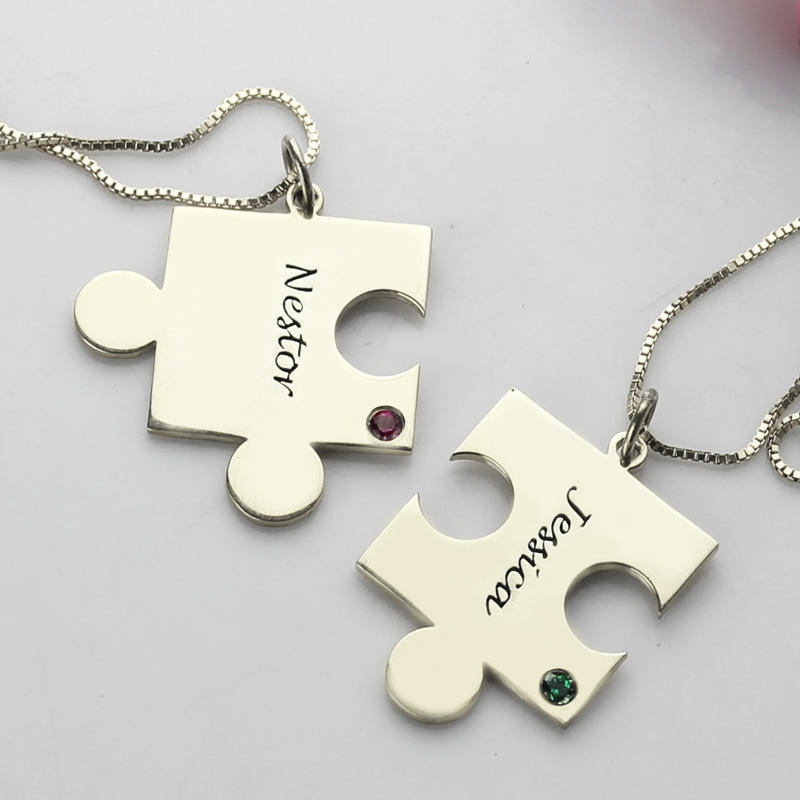 84e818f73e Engraved Puzzle Necklace for Couples Love Necklaces Silver