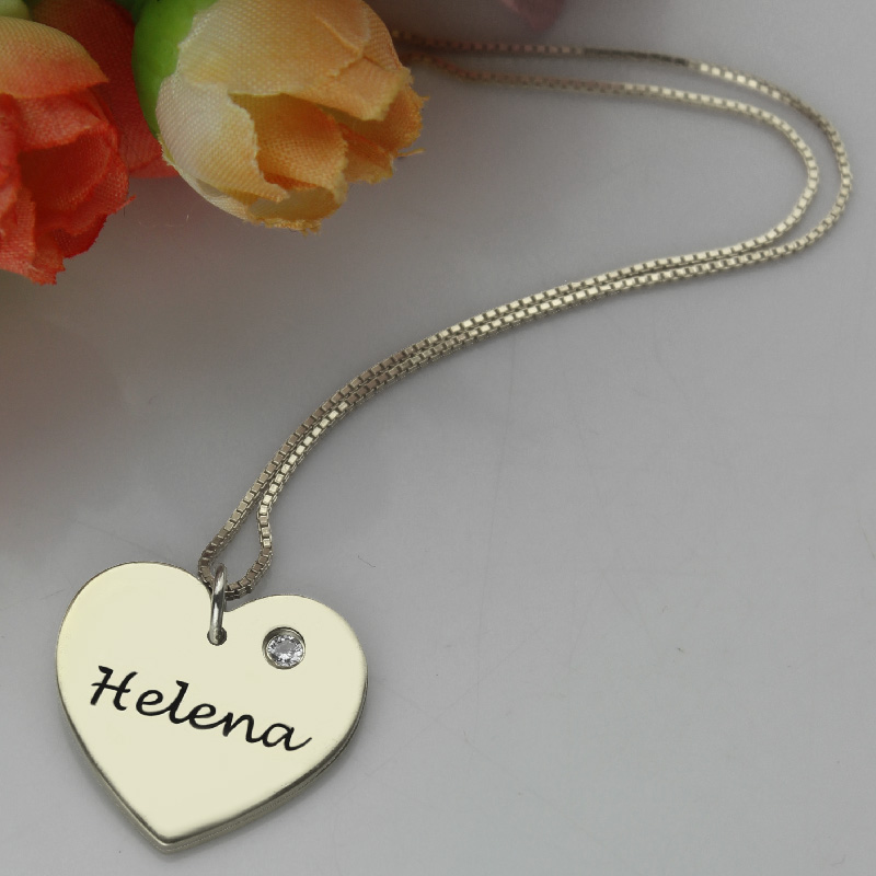 7e79edd78a6b5c Sterling Silver Simple Heart Name Necklace with Birthstone